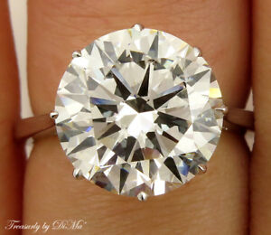 GIA 5.37CT ESTATE VINTAGE SOLITAIRE ROUND DIAMOND ENGAGEMENT WEDDING RING W GOLD