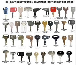 39 Heavy Equipment Construction Ignition Key Set for Cat Case Deere Komatsu JCB