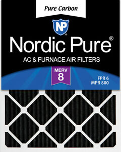 Nordic Pure 12x18x1 MERV 8 Pure Carbon Pleated Odor Reduction Air Filters 4 Pack