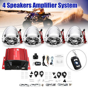 bluetooth 4 Speakers Stereo Audio Amplifier System LCD For Motorcycle ATV