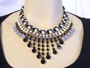 $58 Panacea Bold Braided Rhinestone Bib Statement Necklace Beaded Waterfall 20