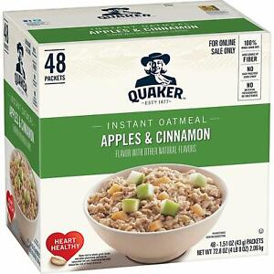 Quaker Instant Oatmeal, Apples and Cinnamon, Breakfast Cereal, 48 Packets