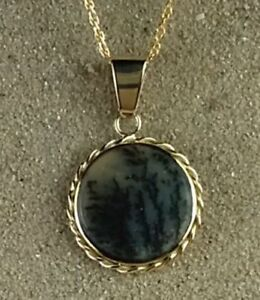 14K Yellow Gold Pendant Dendritic Agate  Maine Made