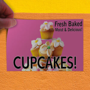 Decal Sticker Fresh Baked Moist & Delicious Cupcakes! Business Store Sign Pink