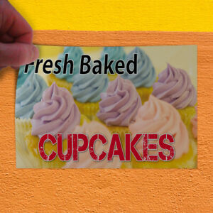 Decal Sticker Fresh Baked Cupcakes Food & Beverage Outdoor Store Sign White