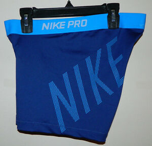 New Women Nike Pro Running Work-Out Solid Navy Blue Short Size L NWT