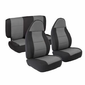 Front & Rear Neoprene Seat Covers Gray Fits Jeep Wrangler TJ 03-06 SB471322