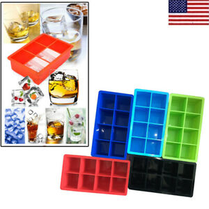 US HOT 8 Big Cube Giant Silicone Large Jumbo Ice Cube Square Mold Tray Mould OCC