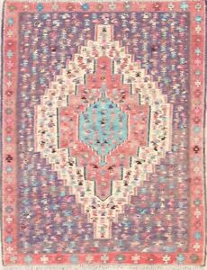 Vegetable Dye Geometric Tribal Kilim Senneh Bidjar Oriental Rug Hand-Made 4x5ft