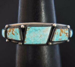 Vintage Navajo No 8 TURQUOISE BRACELET Sterling Silver Cuff s6.75 N Cook c1980s