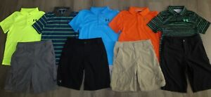 Lot 9 Boys UNDER ARMOUR Polo Shirts Match Play Golf Cargo Shorts YLG Large 1416