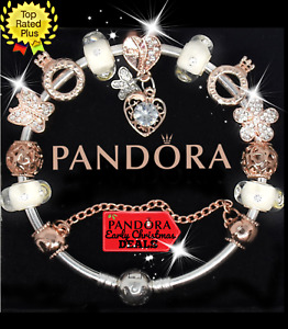 Authentic Pandora Charm Bracelet With Gold CZ Heart European Charms.New