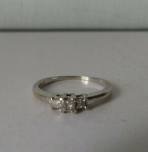 Diamond Ring 13 Carat Princess Cut Three Stone 14kt White Gold Sz 7