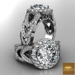 2.25ct Round Diamond Designer Women's Engagement Halo Ring GIA F VVS2 Platinum