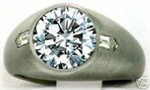 3.40 carat Round & 2 Bullet cut Diamond Solitaire Mens Ring 14k gold 3 ct center