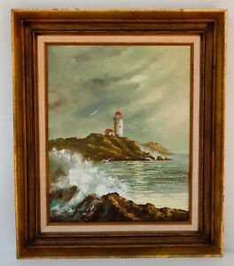 LIGHTHOUSE SEASCAPE ORIGINAL OIL ON CANVAS PAINTING SIGNED $100.00