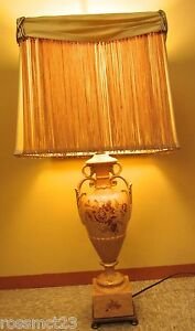 Vintage Pair Table Lamps circa 1940 by Rembrandt. Original Shades $1600.00