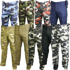 Mens Combat Trousers Tactical Work Wear Cargo Pocket Outdoor Army Security Pants GBP 15.99