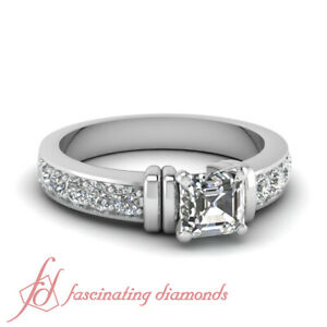 1.30 Ct Assher Conflict Free Diamond Unique Carved Bar Design Engagement Ring
