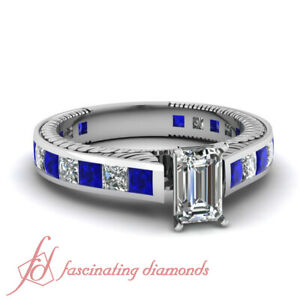 2.5 Ct Emerald Cut FLAWLESS Diamond & Blue Sapphire Bract Design Engagement Ring