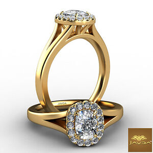 Cushion Diamond Engagement Halo Pave Ring GIA H Color VS2 18k Yellow Gold 0.7Ct