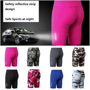 Women Sports Apparel Tights Compression Running Gym Yoga Cycle Reflective Shorts