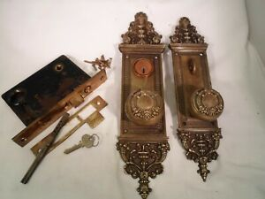 Antique Door Knob Set  R&E Bramante Cylinder Mortise Lock & Key Doorz2.Co#769
