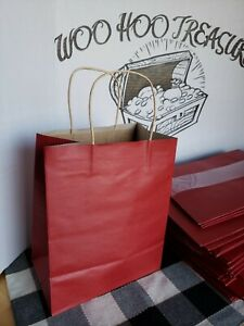 50 Solid Dark Red Gift Kraft Bags 7.75quot; x 4.75quot; x 9.75quot; Any Occasion $35.00