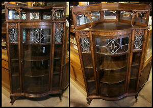 QUALITY Antique Corner China Cabinet Beveled Leaded Glass Lion Griffin w Mirrors