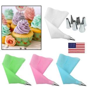 8 Pcs/Set Icing Piping Cream Silicone Pastry Bag 6pcs Stainless Steel Nozzle OCC