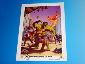 The Thing Versus The Hulk Lithograph Signed Sketched John Watson Marvel 295399 $59.95