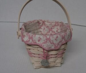 Longaberger 2001 Horizon of Hope Basket Combo with Hope Tie-On - Pink Trim