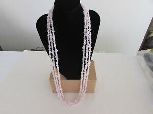 Rose quartz chip necklace set of 3 from jewelry television