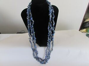 Lapis chip necklace set of 3  from jewelry television