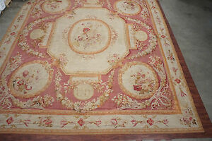 French 19X22 Signed Antique Circa 1880 Hand-Knotted Area Rug Carpet Wool France