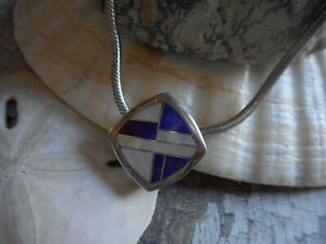 Vintage Teme Sterling Silver Inlaid MOP Lapis Lazuli 20 Chain Necklace 301A $85.00