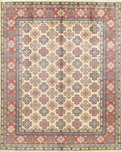 8'x10' NEW Ivory Kazak Hand-Knotted Geometric Oriental Area Rug Vegetable Dye
