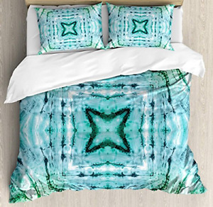 Kaleidoscope 4 Piece Bedding Set Queen Size, Star inside Square Shaped Tie Dye