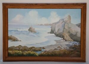 LARGE VINTAGE OIL ON BOARD PAINTING SEASCAPE SIGNED RUBY HARRISON 1997 $150.00