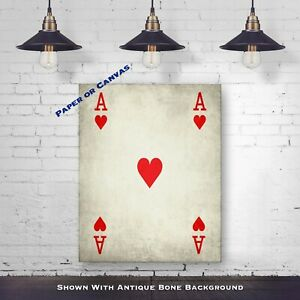 Vintage Ace Of Hearts Poker Print Playing Card Poster Poker Wall Decor