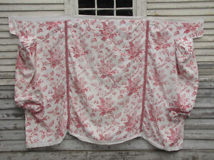 Daybed cover Antique French Fabric pink block printed floral disign c1870 ruffle