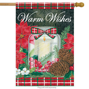 Holiday Candle Christmas House Flag Poinsettia Double Sided Pinecone 28