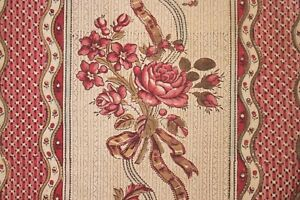 Fabric Antique French Block printed 18th century floral & stripe Siamoise ground