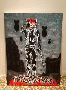 ORIGINAL SIGNED STREET ART PAINTING by CUD Urban Apocalyptic Soldier Warhol Quot
