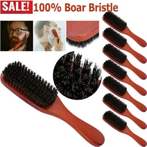 Lot 100% Pure Boar Bristle Hair Brush Beard Mustache Comb Wooden Handle For Men