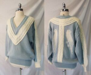 Vintage 80s 90s ESCADA BIRDS Blue Mohair Cable Sweater Size M Designer Jumper