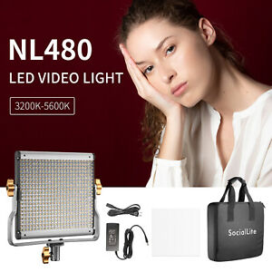 Dimmable Bi-Color 480 LED Video Light with Filter U-Bracket for Video Shooting