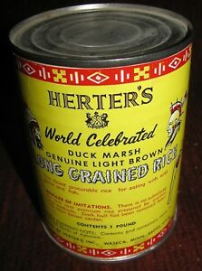 Vintage Sealed Herter's 1 Pound Can Duck Marsh Light Brown Long Grained Rice Dry
