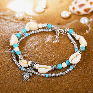 Women's Cowrie Natural Shell Turquoise Beads Ankle Bracelet Beach Sandal Anklet