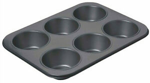 Chicago Metallic Non Stick Six 9.5cm Hole Giant Cup Cake Muffin Baking Pan Tray